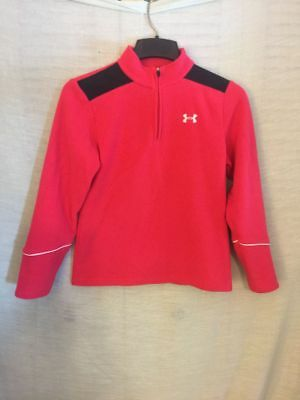 Under Armour Girls Youth Large Red Fleece Pullover 1/4 zip sweatshirt top YLG