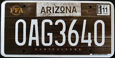 """ARIZONA """" AGRICULTURE - FFA - WOOD """"  MINT AZ Specialty Graphic License Plate"""
