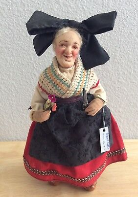 Antique Frances Diecks Ravca French Cloth Doll Alsace Needle Sculpted Stockinet
