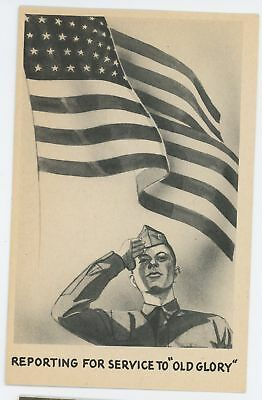World War 2 WWII Reporting for Service Old Glory American Flag Vintage Postcard