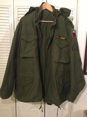 Vtg M-65 M65 U.S. Army Issued Field JACKET sz LR Used 1980 Dated
