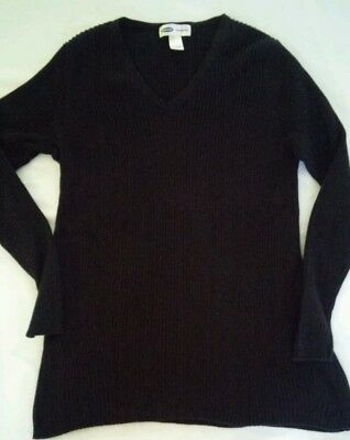 Nw Womens Old Navy Black V-Neck Maternity Long Sleeve Ribbed Pullover Sweater L