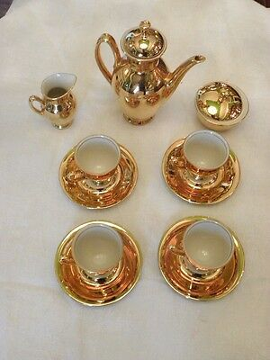 Gold Bavarian Porcelain Coffee Set With Four Cups And Saucers