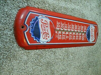 """VINTAGE ORIGINAL PEPSI COLA Thermometer ,1945, GREAT COLORS, WORKS !!, 8"""" X 27 """""""