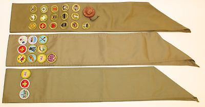 3 Boy Scout Sashes W/ Merit Patches