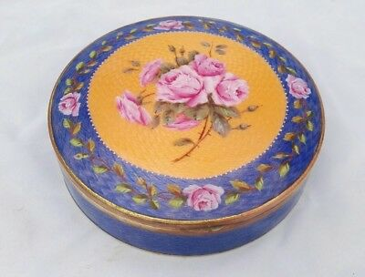 Vintage Antique Art Deco Big Guilloche Enamel Powder Box With Mirror Roses