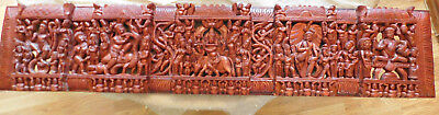 "Five Scenes Of Krishna Carved From One Piece Of Wood 48"" X 10""  Panel"