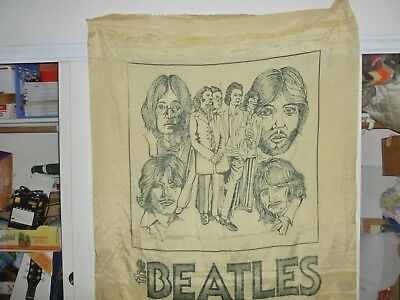 "VTG:""The BEATLES"" Cloth Display Banner(~56""X~44"")Feels Silky/Unknown Origin!L@@K"