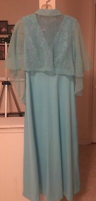Vintage Retro Prom Formal Teal Dress With Cape