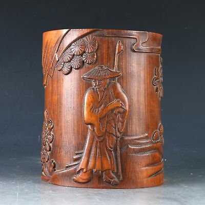 Chinese Bamboo Pole Hand Carved Old man & pine tree Brush Pot  DY0497