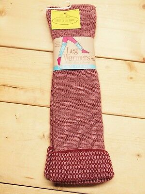 """Vintage NOS 1980's fashion LEG WARMERS pink & maroon acrylic, about 25"""", nice!"""
