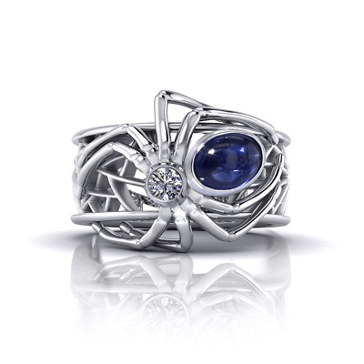 Spider Style 925 Silver Blue Sapphire Gemstone Wedding Bridal Ring Jewelry 6-10