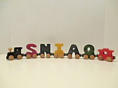 Maple Landmark Woodcraft Wooden Magnetic Letters Name Train 7 Piece