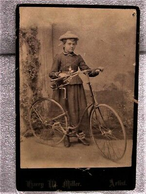 Antique Bicycle Photograph Photo Vtg Cabinet Card Vintage Woman Cyclist Old Bike