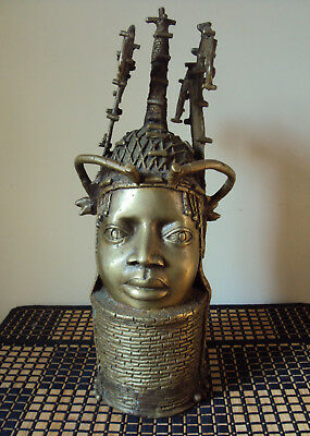 VERY FINE XRARE BRONZE BENIN Ooni Ife King BUST HEADDRESS African Carving!!