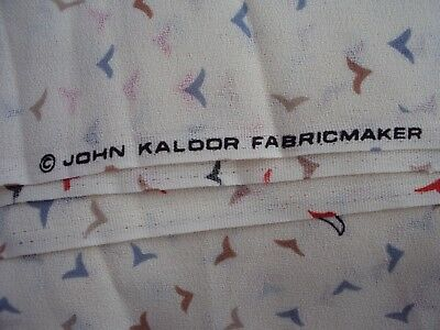 Fabric John Kaldor Birds Cream Red Black Brown Grey  Material 4M X 112Cm Approx
