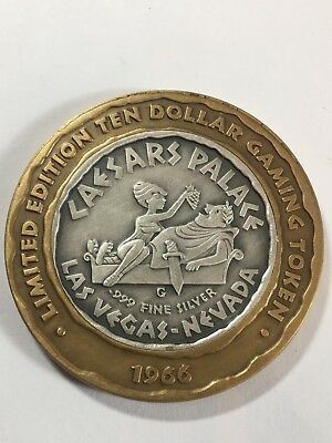 1966 Limited Edition $10 Vinged Victory 0.999 Silver Caesars Palace Gaming Token