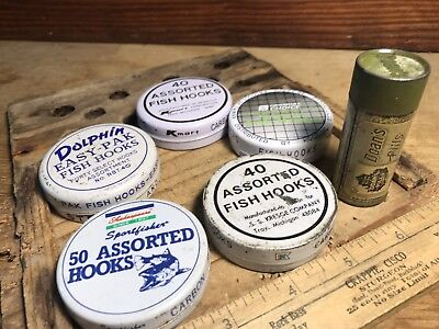 6 Vintage Tin Fishing Hooks Containers! Nice & Collectible Lot, Tackle Box Find!