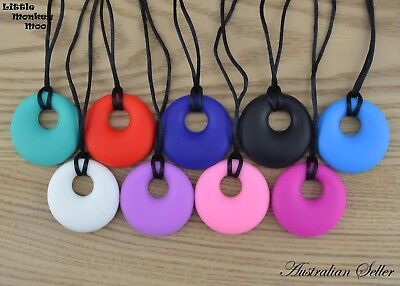 Round Pendant (Was Teething) Necklace Silicone Sensory Baby Teether ASD