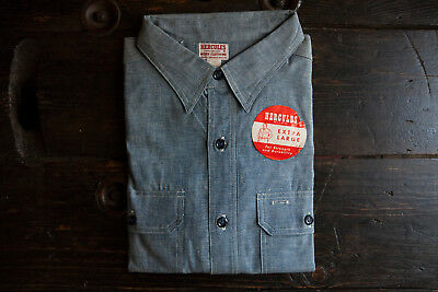 Vintage Deadstock 1940's / 1950's Hercules Cotton Chambray Work Shirt NWT