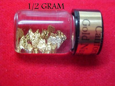(W-E)  Gold Nuggets out of the American River 1/2 Gram in a vial #12  & 16 Mesh