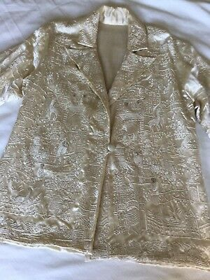 Vintage Rare Antique Japanese Heavily Embroidered Silk Jacket w/ Faces
