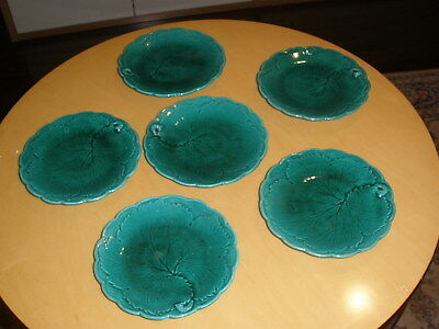 """6 Antique Green Majolica Leaf Plates 6 1/4"""" across, Unsigned"""