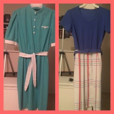 Vintage Retro 1970S Dress Lot Teal And Blue
