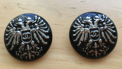 SALE!!! Chanel Royal Buttons Set of 2 Black Enamel and Silver Color