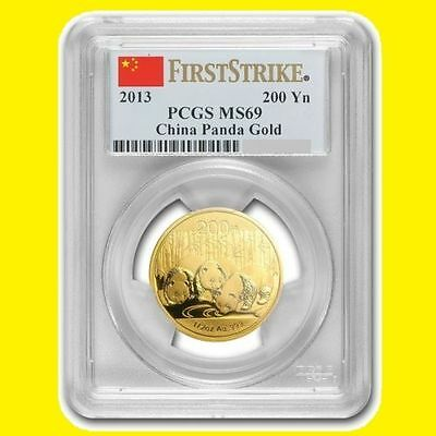 2013 China 1/2 Oz 200Y Gold Panda  Pcgs Ms 69 First Strike