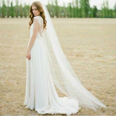 New White 1T 2M Wedding Bridal Long Veil Cathedral With Comb