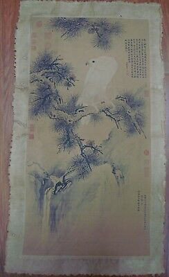 Large Old Chinese Paper Painting White Eagle Marked LangShiNing