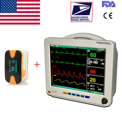 Digital Color Patient Monitor 6 parameter Ekg Heart Monitor With Oximeter USA