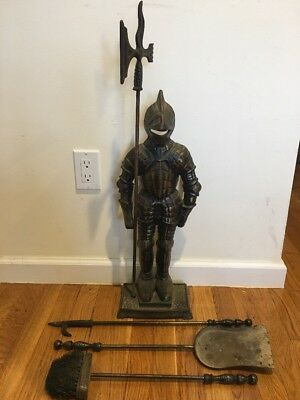 Cast Iron Knight Medieval Suit Of Armor Sword  Fire Place Tools Holder Vintage