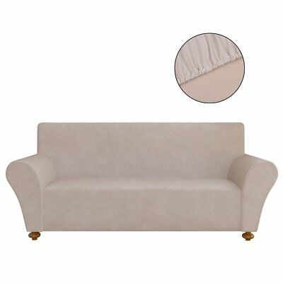 #Stretch Fit 3 Seater Sofa Cover Lounge Couch Removable Slipcover Beige Washable