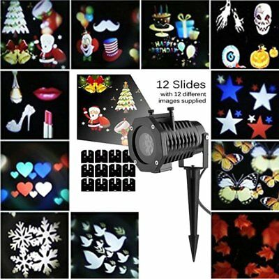 12Pattern LED Moving Laser Projector Garden Stage Light Xmas Party Outdoor AU