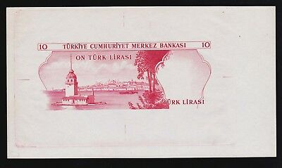 Turkey 10 Lirasi one Printers Proof  Pick 186 L.1070  (1975) UNC RARE