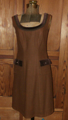 Vintage Salzburger German 40 US M 8 Brown WOOL Velvet Trimmed Dress Fall Winter