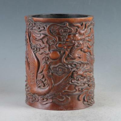 Exquisite Bamboo Wood Hand Carved Dragon & Phoenix Brush Pot DY483