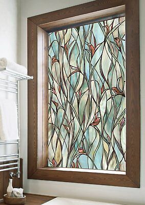 "Textured Stained Glass Art Privacy Window Film UV Protect Home Decor 24"" X 36"""