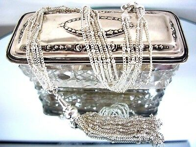 Vintage Sterling Silver 3 Chain Necklace With Tassel ~ Exquisite Piece 13 Grams