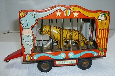 Vintage Japan Tin The American Circus Animated Tiger Trailer Wagon