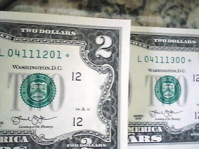 100 $2 CONSECUTIVE NUMBERED UNCIRCULATED BEP 2013 U.S. STAR NOTES (Sept)