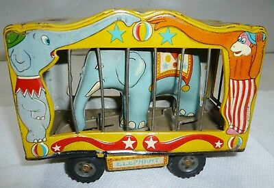 Vintage Japan Tin The American Circus Animated Elephant Trailer Wagon
