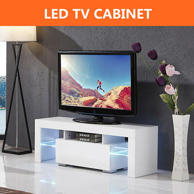 130cm High Gloss TV Cabinet Unit Stand White Mordern Table With RGB LED Light UK