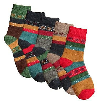 Womens Thick Knit Wool Socks Winter Warm Casual Crew ,5 Pair Pack Fits Shoe 5-9
