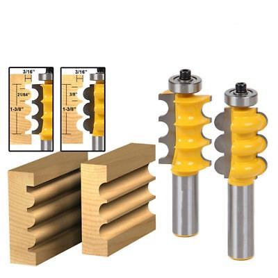1/2'' Shank Bead&Triple Flute 2 Molding Router Bits Woodworking Cutter Tool