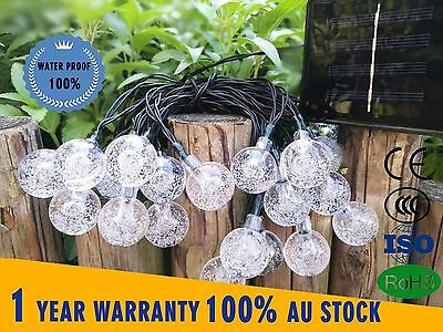 30 LED Solar Air Bubbles Beads String Lights Crystal Effect Garden Outdoor Light