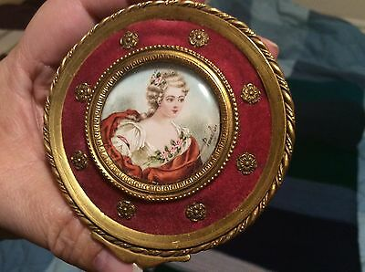 Antique handpainted signed portrait trinket jewelry box signed Paulin