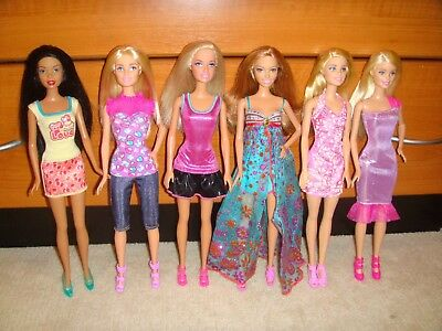 Barbie Doll Lot Of 6 Dolls Fully Clothed With Shoes Excellent Condition Lot 72